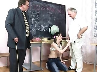 Lil' Sexpot Dragged Into Group Fuckfest With Old Lecturer And Principal