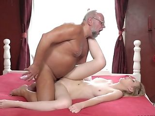 Beautiful Youthfull Blonde Amaris Is Playing De-robe Poker With One Old Fart