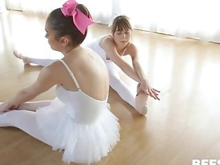 Ashly Anderson And Two More Ballerinas Share A Cum Shot On Their Knees