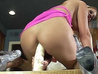Perverted Desire Moore Drills Her Cunt With Playthings In The Kitchen