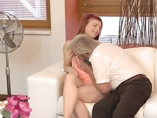 Crimson-haired Stunner Deals With Grey-haired Stepfather Of Her Bf