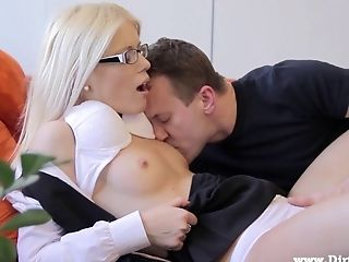 Charming Blonde With Glasses Gets Wrecked By A Stranger