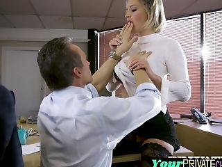 Stockinged Long Legged Blonde Getting Screwed