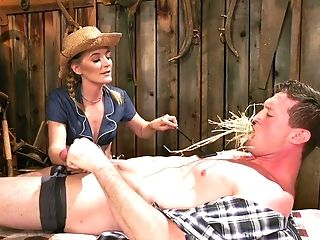 Barnyard Molestation Session With Mistress Mona Wales Siting On Her Victim
