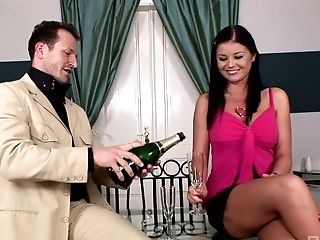 Dark-haired Beauty Christina Jolie Is On Her Knees Pleasing A Boner