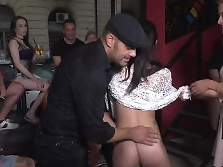 Petite Black-haired Abased By Two Folks And Blonde In Public