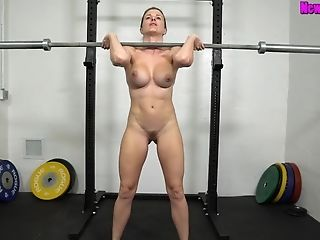 Muscled Mom Works Out Naked - Sport With Big-chested Blonde Mummy Cory Chase