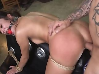Subjugated Hoe In Restraint Bondage Gets Bum-fucked From Behind