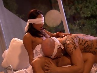 pretty blindfold brunette milf wife gets hold her head