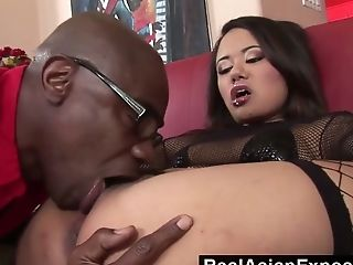 Big Aggressive Black Hosepipe Goes Wild In Spread Asian Ass-fuck Fuckhole