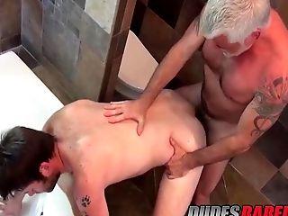 Older Dude Jake Marshall Drills Hot Stud In A Bathroom