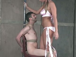 Fuck-fest-thirsty Mistress London Sea Penalizes Sack And Dick Of Her Servant Man