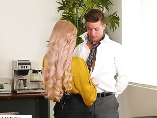 Horny Huge-boobed Blonde Assistant Casca Akashova Loves Fucking Mad On The Table
