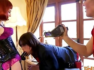 Submissive Crossdresser Penalized By Horny Mistresses