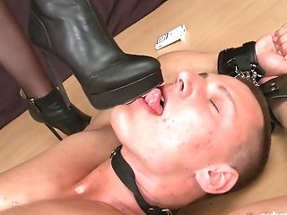 Unexperienced Sandy-haired Mistress Olivia Ambles Over Her Submissive And Torments Him