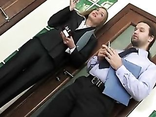 Duo Smoking And Fucking In Office