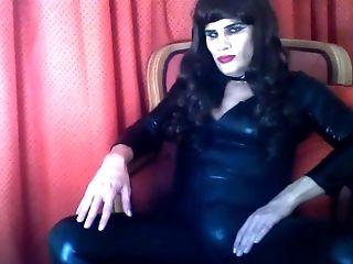 Selina Shiny Catsuit Fap, Jizm On Feet