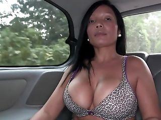 For Cash Big-butted Latina Mummy Disrobes Near Black Boy In Car