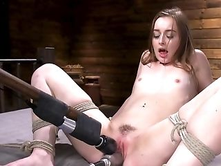 Chick Tied Up And Humped In Smooth-shaven Snatch By Machines