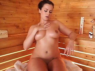Ardent Lady Charlie Rose Oils Her Edible Boobies And Plays With Them