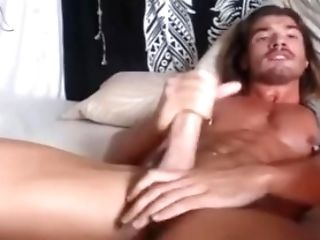 Lengthy Haired Hunk Supah Orgasms With Ohmibod In His Arse