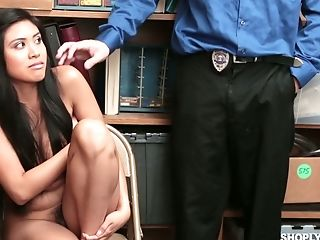 Asian Black Haired Chick Ember Snow Has To Suck Lewd Detective's Dick
