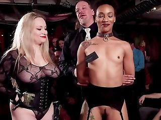 Inked Dude And Blonde Domina Disgrace Beotches During Soiree