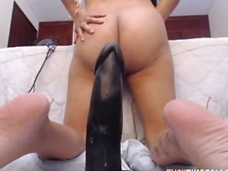 Latina Railing Big Black Cock Faux-cock With Asshole Demonstrating