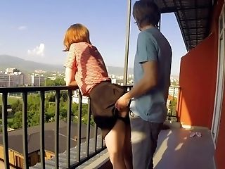 Simply remarkable fucking horny on hotel balcon couple shaking, support