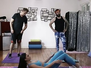 Sexy Yoga Instructor Ariana Marie Gets Dual Penetrated During Workout