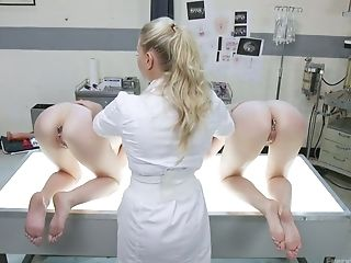 Pervy Nurse Is Fucking Sex-positive Buttfuck Slots Of Audrey Holiday And Her Crimson Haired Gf