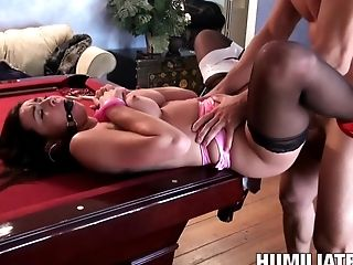 Ball Ball-gagged Woman Roped And Fucked Over His Pool Table