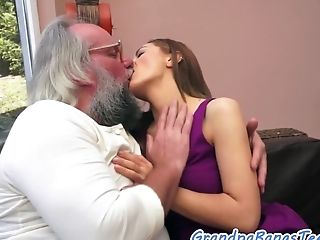 Adorable Eurobabe Creampied By Oldman