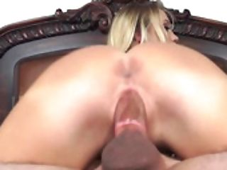 A Blonde That Loves Meatpipe Is Introduced With A Big One To Suck