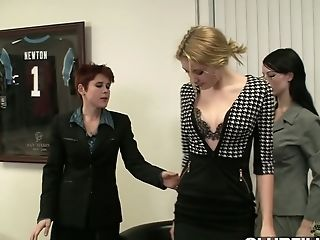 Oversexed Stunners Are Fucked By Hot Blooded Crimson Haired Dyke