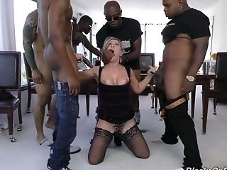 Spunk Greedy Whore Cherie Deville Takes On A Few Black Spears At A Time