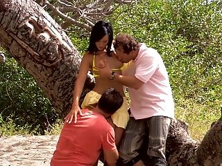 Two Lucky Guys Get To Fuck Mandy Saxo Together Outdoors