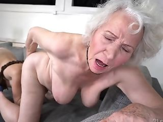 Retirement Bounty - Old Gilf Norma B And Youthful Black-haired Tiffany Doll In Girl-on-girl Activity