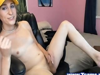 Sporty Tranny Holding Her Salami And Talks Dirty