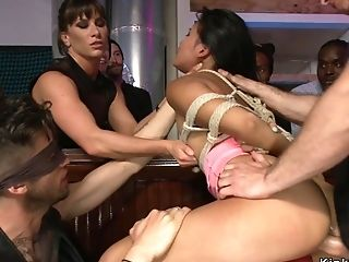 Honey Spanked And Banged In Public Lovemaking Orgy