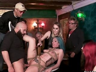 Spanish Punker Fuck-fest Orgy Domination & Submission Pounded In Public Bar