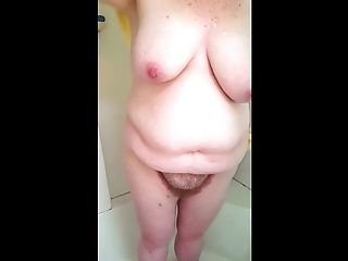 Showering & Drying Her Big Hairy Beaver & Tits