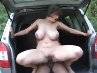 Interracial Lovemaking With Cougar In The Countryside