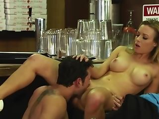 Blonde Sweetie With Big Tits Loves Oral Lovemaking In The Restaurant