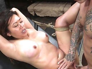 Utter-bosomed Asian Sub Finger Had Hook-up