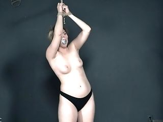 Timid Blonde Stunner Kinsley Anne Tied Up And Manhandled In A Black Room