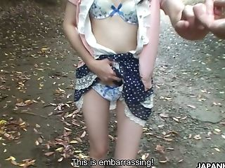 Adorable Insatiable Japanese Doll Riko Tanabe Is Sucking Big Dick In The Park