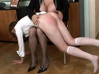 Diminutive Tits Assistant Lucy Bell Gets Unwrapped And Spanked