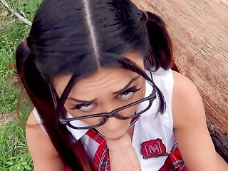 Nerdy College Girl Rails Man-meat In Impeccable Point Of View
