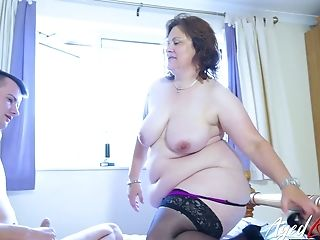 Giant Boobed Fat Older Whore Gets Fucked In Spoon Position